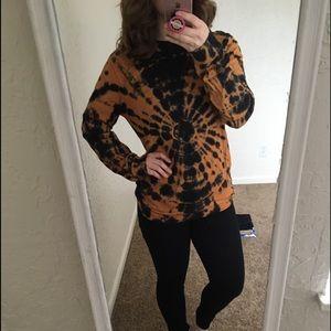 Urban Outfitters Orange Black Tie Dye Long Sleeve